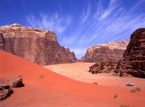 Exploring with a four wheel drive the Wadi rum desert in Jordan